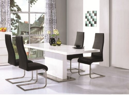 Chaffee High Gloss Dining Table + Leather Steel Chairs